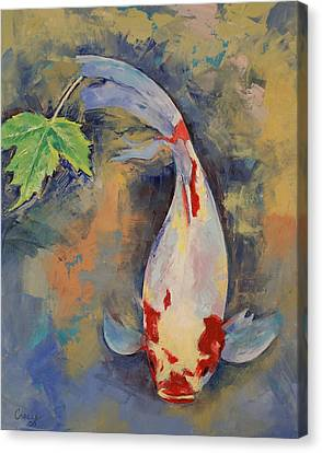 Coy Canvas Print - Koi With Japanese Maple Leaf by Michael Creese