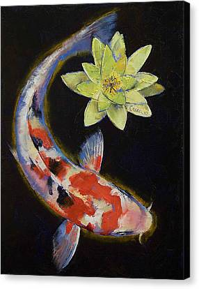 Koi With Yellow Water Lily Canvas Print by Michael Creese