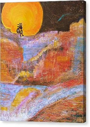 Kokopelli And The Big Moon Canvas Print by Anne-Elizabeth Whiteway