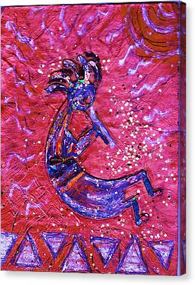 Kokopelli Dance Canvas Print by Anne-Elizabeth Whiteway