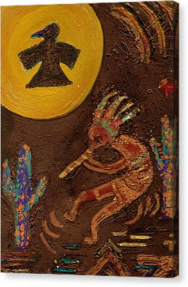 Kokopelli Dancing II Canvas Print by Anne-Elizabeth Whiteway