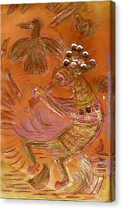 Kokopelli Dancing Up A Storm Canvas Print by Anne-Elizabeth Whiteway