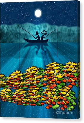 Kokopelli Fishing Canvas Print by Chris Rhynas