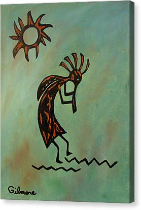 Canvas Print featuring the painting Kokopelli Flute Player by Roseann Gilmore