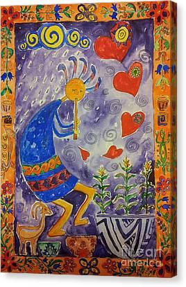 Kokopelli In Love Canvas Print by Maryna Salagub