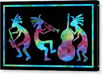 Trio Canvas Print - Kokopelli Jazz Trio by Jenny Armitage