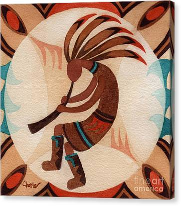 Hopi Canvas Print - Kokopelli Moon by Vikki Wicks