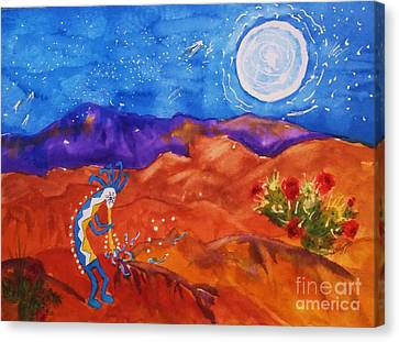 Kokopelli Playing To The Moon Canvas Print by Ellen Levinson