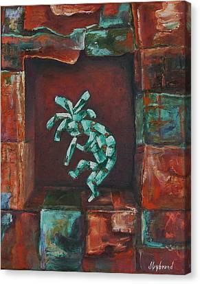 Kokopelli Set In Stone Canvas Print by Judy Lybrand