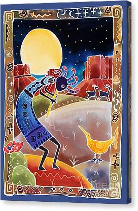 Southwest Canvas Print - Kokopelli Sings Up The Moon by Harriet Peck Taylor