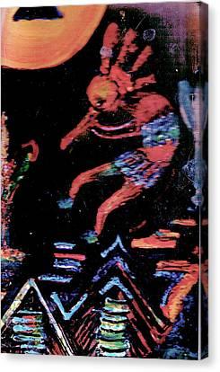 Kokopelli Style Dancing Canvas Print by Anne-Elizabeth Whiteway