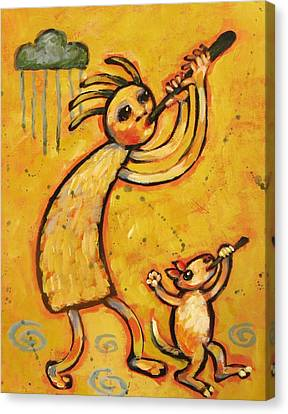 Kokopelli With Musical Dog Canvas Print