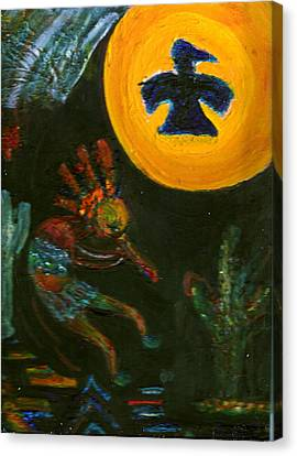 Kokopelli With Thunderbird In The Moon Canvas Print by Anne-Elizabeth Whiteway
