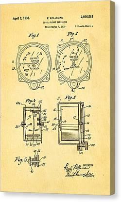 Kollsman Altimeter Patent Art 1936 Canvas Print by Ian Monk