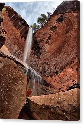 Kolob Canyons Falling Waters Canvas Print by Leland D Howard