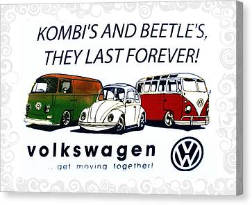 Kombis And Beetles Last Forever Canvas Print by Bill Cannon