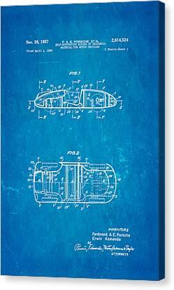 Auto-portrait Canvas Print - Komenda Porsche Open Top Body Design  Patent Art 1957 Blueprint by Ian Monk