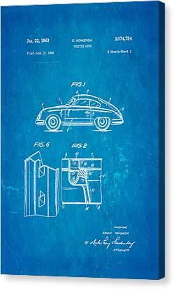 Auto-portrait Canvas Print - Komenda Porsche Vehicle Door Design Patent Art 1963 Blueprint by Ian Monk