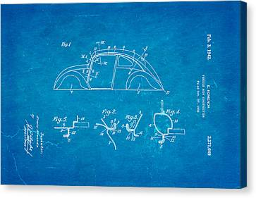Komenda Vw Beetle Body Design Patent Art 1942 Blueprint Canvas Print