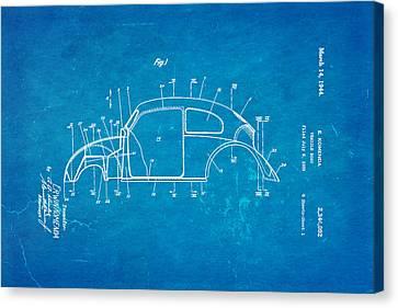 Komenda Vw Beetle Body Design Patent Art 1944 Blueprint Canvas Print
