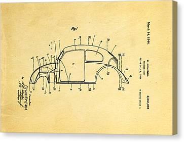 Komenda Vw Beetle Body Design Patent Art 1944 Canvas Print