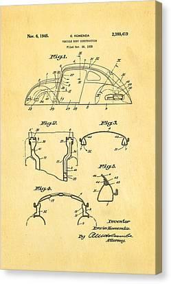Komenda Vw Beetle Body Design Patent Art 1945 Canvas Print