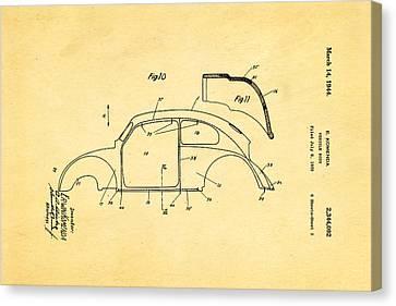Komenda Vw Beetle Body Design Patent Art 2 1944 Canvas Print