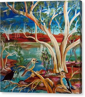 Canvas Print featuring the painting Kookaburras Billabong by Roberto Gagliardi