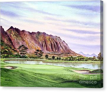 Canvas Print featuring the painting Koolau Golf Course Hawaii 16th Hole by Bill Holkham