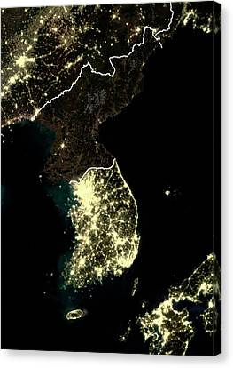 Korean Peninsula At Night Canvas Print by Planetobserver