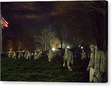 Korean War Memorial At Night Canvas Print by Natural Focal Point Photography