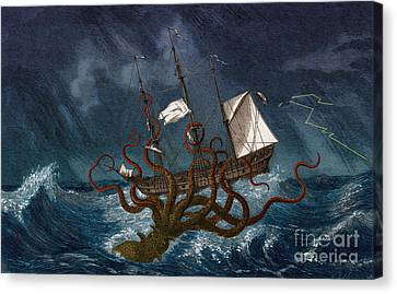Folkloric Canvas Print - Kraken Attacking Ship, 1700 by Science Source