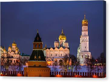 Kremlin Cathedrals At Night - Featured 3 Canvas Print by Alexander Senin