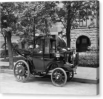 Young Man Canvas Print - Krieger Electric Carriage by Underwood Archives