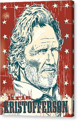 Johnny Cash Canvas Print - Kris Kristofferson Pop Art by Jim Zahniser