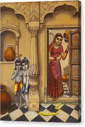 Krishna And Ballaram Butter Thiefs Canvas Print by Vrindavan Das