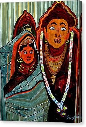 Canvas Print featuring the painting Krishna And Radha by Anand Swaroop Manchiraju