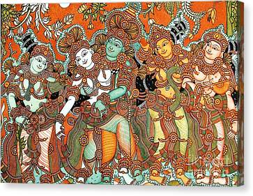 Krishna And Radha Canvas Print by Pg Reproductions