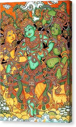 Krishna And The Gopis Canvas Print by Pg Reproductions