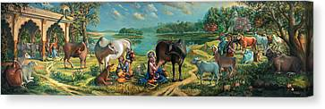 Krishna Balaram Milking Cows Canvas Print by Vrindavan Das