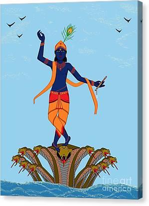 Krishna Dancing On Kaliya Canvas Print