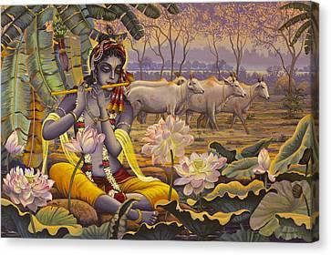 Krishna. Evening Flute Canvas Print by Vrindavan Das