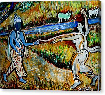 Canvas Print featuring the painting Krishna In   Madhura  by Anand Swaroop Manchiraju