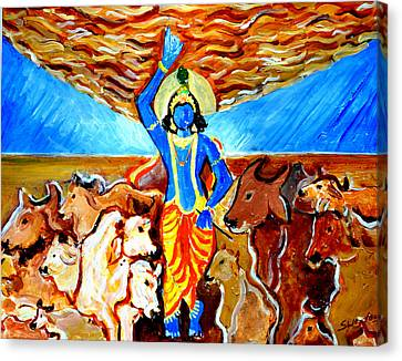 Canvas Print featuring the painting Krishna Lifting Govardhan Hill by Anand Swaroop Manchiraju