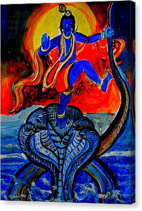 Canvas Print featuring the painting Krishna On Kalindimardan by Anand Swaroop Manchiraju
