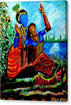 Canvas Print featuring the painting Krishna  Playing With Radha by Anand Swaroop Manchiraju