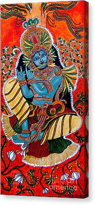 Canvas Print featuring the painting Krishna by Saranya Haridasan