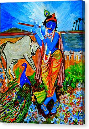 Canvas Print featuring the painting Krishna With Cow by Anand Swaroop Manchiraju