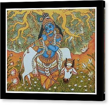 Krishna With Cow Mural Painting Canvas Print by Navin PB