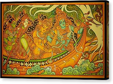 Krishna With Gopikas On A Boat Canvas Print by Navin PB